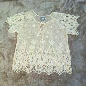Anthropologie Maeve floral crochet top